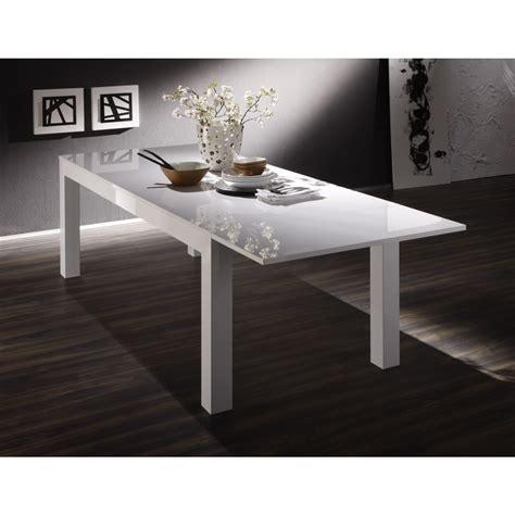 table laquee blanche rectangulaire avec allonge 160 cm