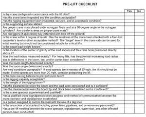 lift study template plant safety use this checklist for mobile crane lift