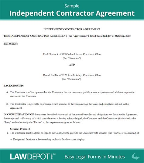 Agreement Letter For Contractor Independent Contractor Agreement Free Contractor Contract Us Lawdepot