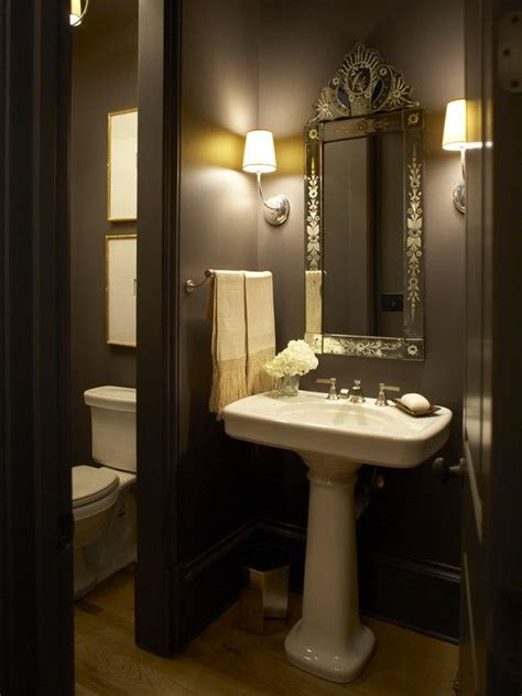 traditional home stunning powder room with bold black walls paint color glossy white