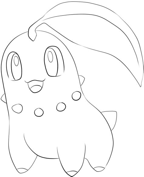 pokemon coloring pages cyndaquil 152 chikorita lineart by lilly gerbil on deviantart