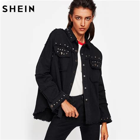 Promo Jaket Denim Hoodie Black Garment Murah shein studded frayed hem denim jacket autumn coats black lapel single breasted 2017
