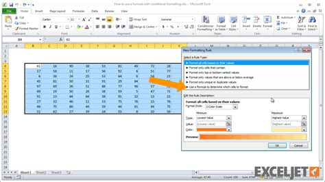 excel jet tutorial excel tutorial how to apply conditional formatting with a