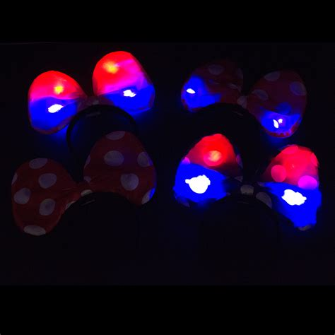 Mickey Led minnie mickey mouse ears light up bow headbands led favors lot ebay