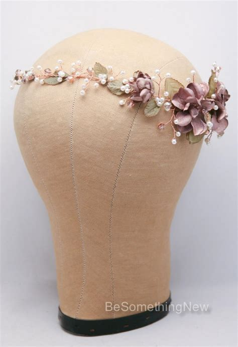 a gold sprayed flower crown wedding hairstyles photos rose gold floral hair vine of wired flowers pearls and