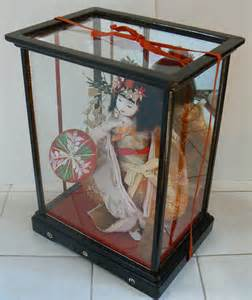 Japanese Glass Display Cabinet Japanese Doll In Signed Wood Glass Display