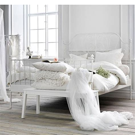 Ikea White Iron Bed Frame Ikea Leirvik Bed Frame White Size Iron Metal Country Style Bedroom For The
