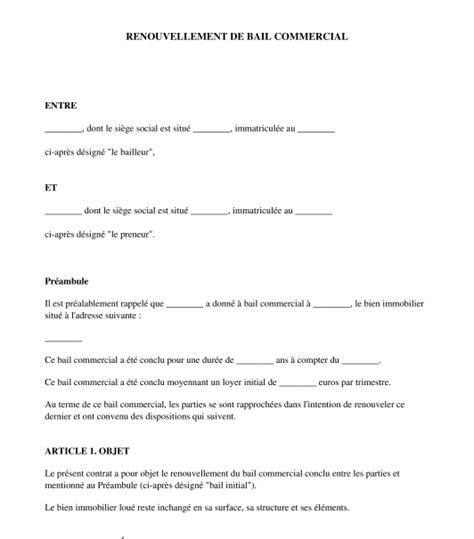 lettre de renouvellement du bail commercial mod 232 le word