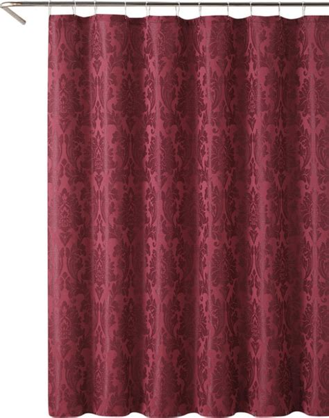 Burgundy Shower Curtain by Burgundy Floral Damask Jacquard Fabric Shower Curtain