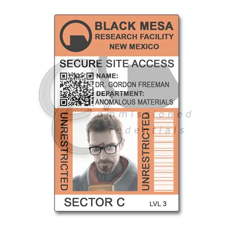black mesa id card template black mesa commissioned credentials