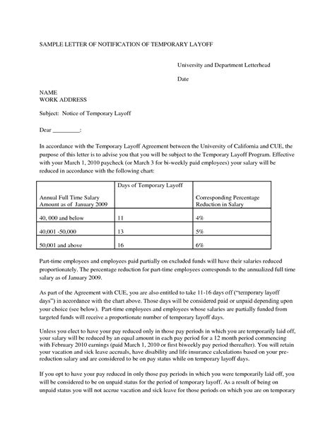 termination letter format for layoff 10 best images of temporary layoff notice template