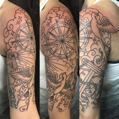 ocean themed tattoos 20 nautical half sleeve tattoos
