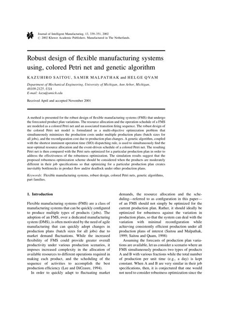 design for robustness based on manufacturing variation patterns robust design of flexible manufacturing systems using