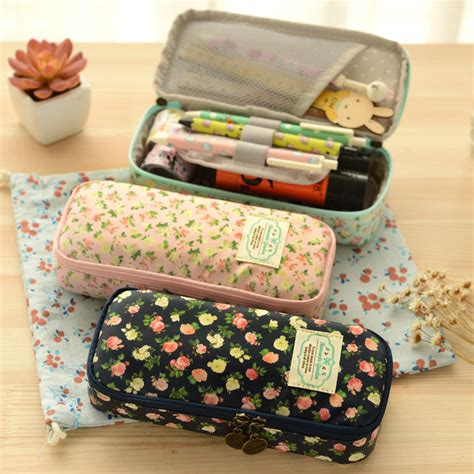 Floral Canvas Pencil Bag kawaii stationery canvas floral pencil large capacity