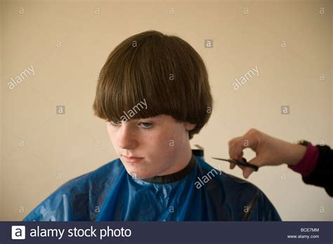 14 year old boys haircuts a 14 year old boy gets a haircut stock photo royalty free
