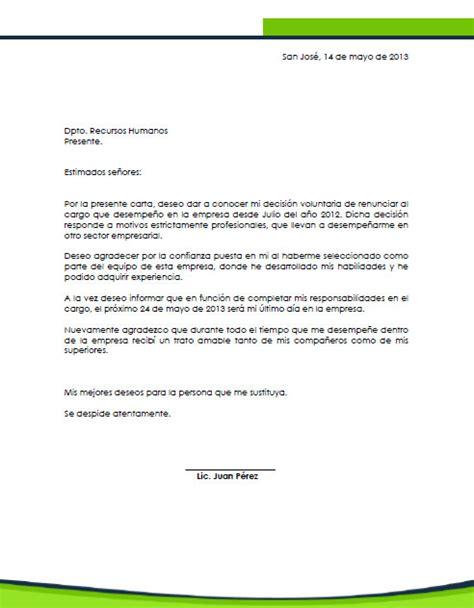 Carta De Renuncia Ejemplo Ecuador consejos de c 243 mo realizar una carta de renuncia en costa rica
