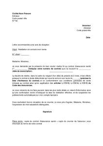 Resiliation Lettre Gratuite Lettre Type Resiliation Contrat Mutuelle Document