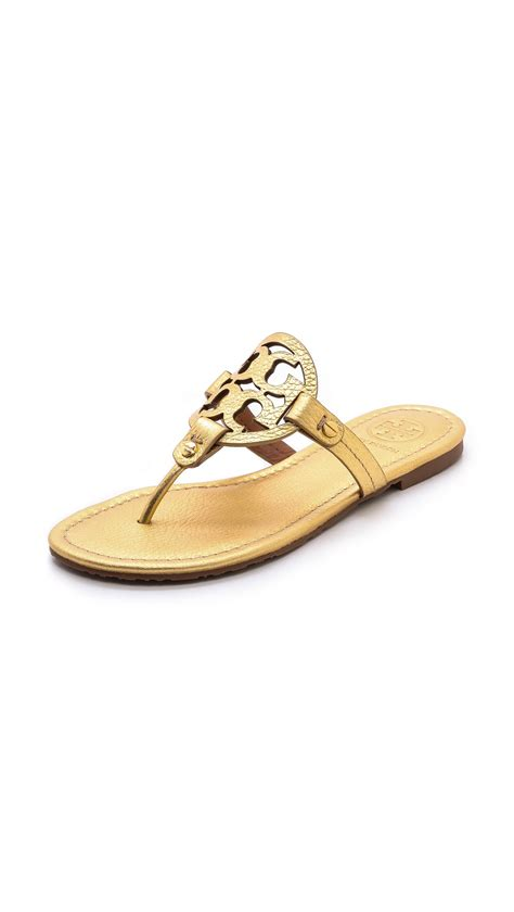 burch sandals sale burch miller sandals gold in gold lyst
