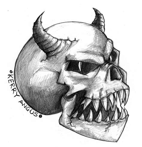 demon skull by kezzo on deviantart