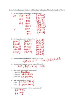 Quantum Numbers Practice Worksheet quantum numbers worksheet