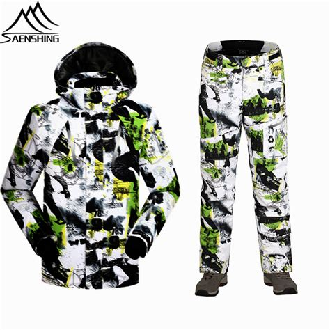 army patterned ski jacket saenshing winter men ski suits thermal outdoor snowboard