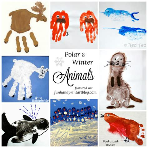 Winter Animal Crafts - polar and winter animal crafts made with handprint