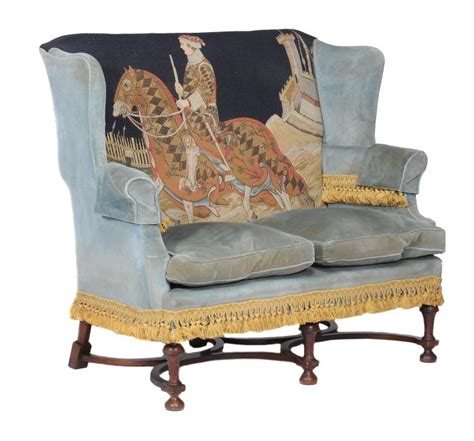 wing back settee william and mary style wing back two seat settee 20th cent