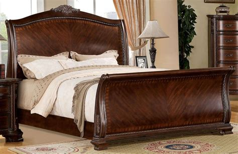 Cherry Sleigh Bed Penbroke Brown Cherry King Sleigh Bed From Furniture Of America Cm7270ek Bed Coleman Furniture