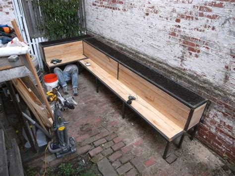 bench for her she builds a bench for her back patio but what she puts