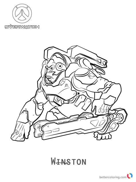 libro overwatch coloring book winston from overwatch coloring pages free printable