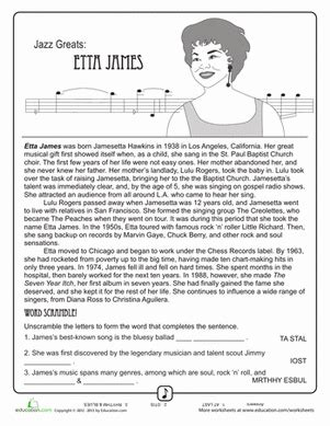 jazz greats etta worksheet education