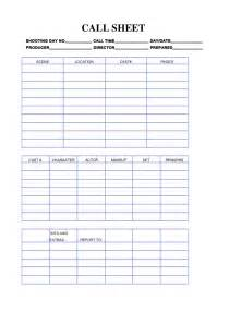 Call Sheet Template by October 2014 Charsmediablog