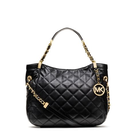 Quilt Bags by Michael Kors Susannah Large Quilted Leather Tote In Black