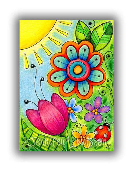 How To Draw A Garden With Flowers Aceo Original Morning In The Garden Colorful Colored Pencil Drawing Flower Do It