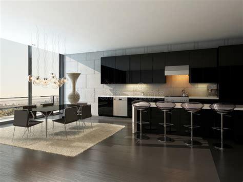 gli sgabelli interno nero della cucina con gli sgabelli da bar ed il