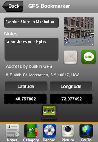 iphone  android app gps bookmarker