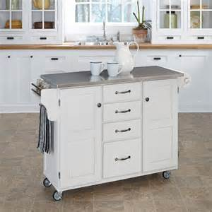 white kitchen island with stainless steel top white stainless kitchen cart
