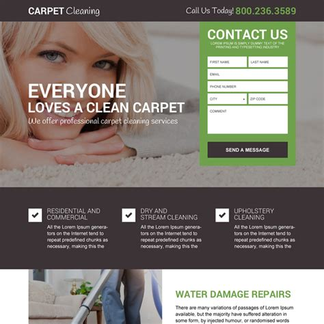 Free Carpet Quote by Professional And Converting Cleaning Service Landing Page