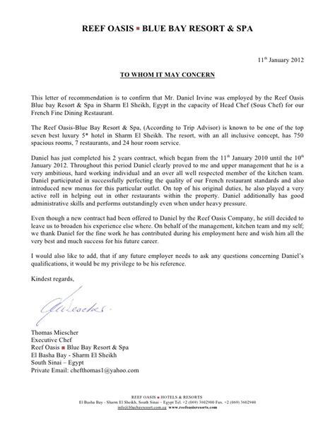 Recommendation Letter From Employer Restaurant Reference Letter Blue Bay 11 01 2012
