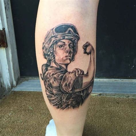 Tattoo Army Girl | military girl tattoo on calf best tattoo ideas gallery