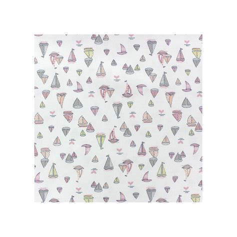 globus pink cotton printed boat satiny cotton fabric sailing boat pink x 10cm ma mercerie