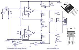 audio amplifier circuit using tda2040 todays circuits