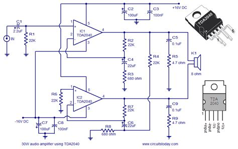 integrated circuit for lifier an audio lifier circuit diagram and schematics of 30 watts using tda2040 a monolithic