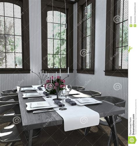 table set with white dishes in bright dining room stock