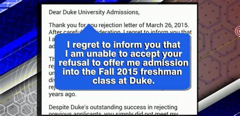 Rejection Letter Duke carolina writes rejection letter to duke