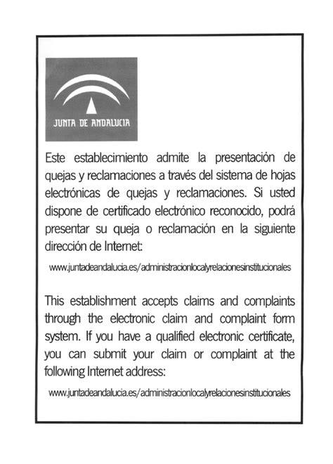 modelo de cartel informativo de la existencia de hojas de quejas y decreto 72 2008 de 4 de marzo por el que se regulan las