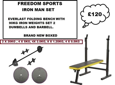 everlast workout bench everlast folding workout bench with 90kg cast iron weights set brand new boxed outside
