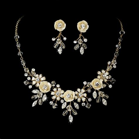 beautiful or gold swarovski bridal jewelry
