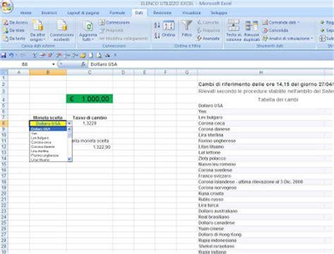 Cambio Dollaro Banca D Italia by Excel Easy Excel Facile Come Fare Un Cambio Valuta Con Excel