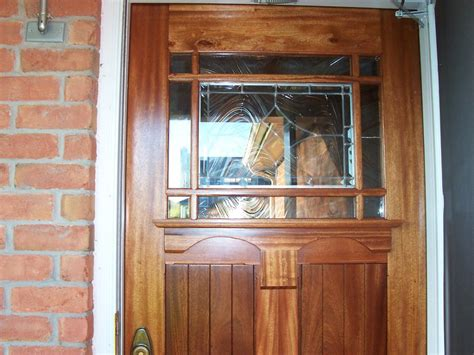 craftsman style entry door  cutom stained glass leaded